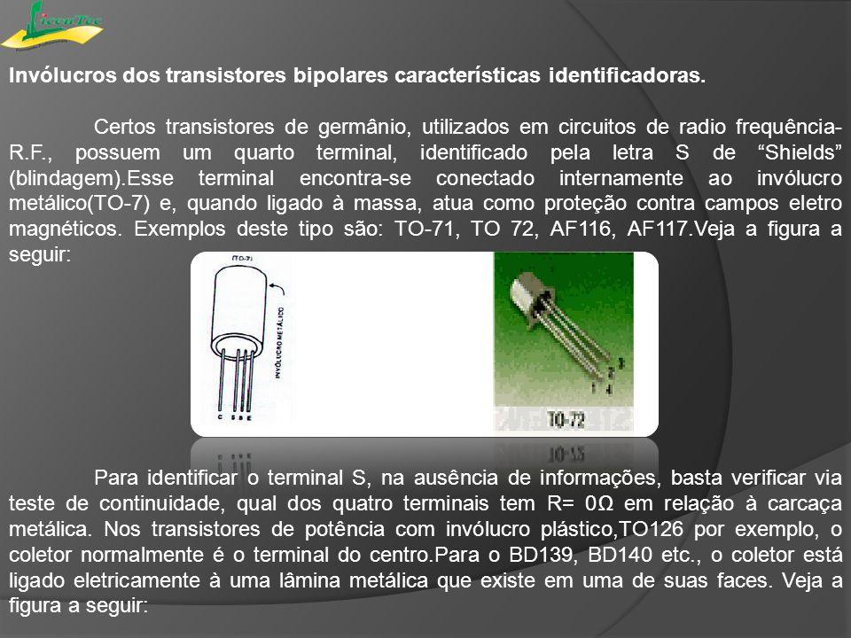 Invólucros dos transistores bipolares características identificadoras. Certos transistores de germânio, utilizados em circuitos de radio frequência- R