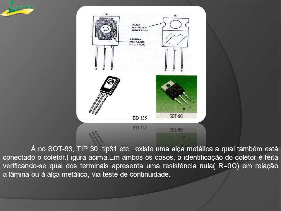 Á no SOT-93, TIP 30, tip31 etc., existe uma alça metálica a qual também está conectado o coletor.Figura acima.Em ambos os casos, a identificação do co