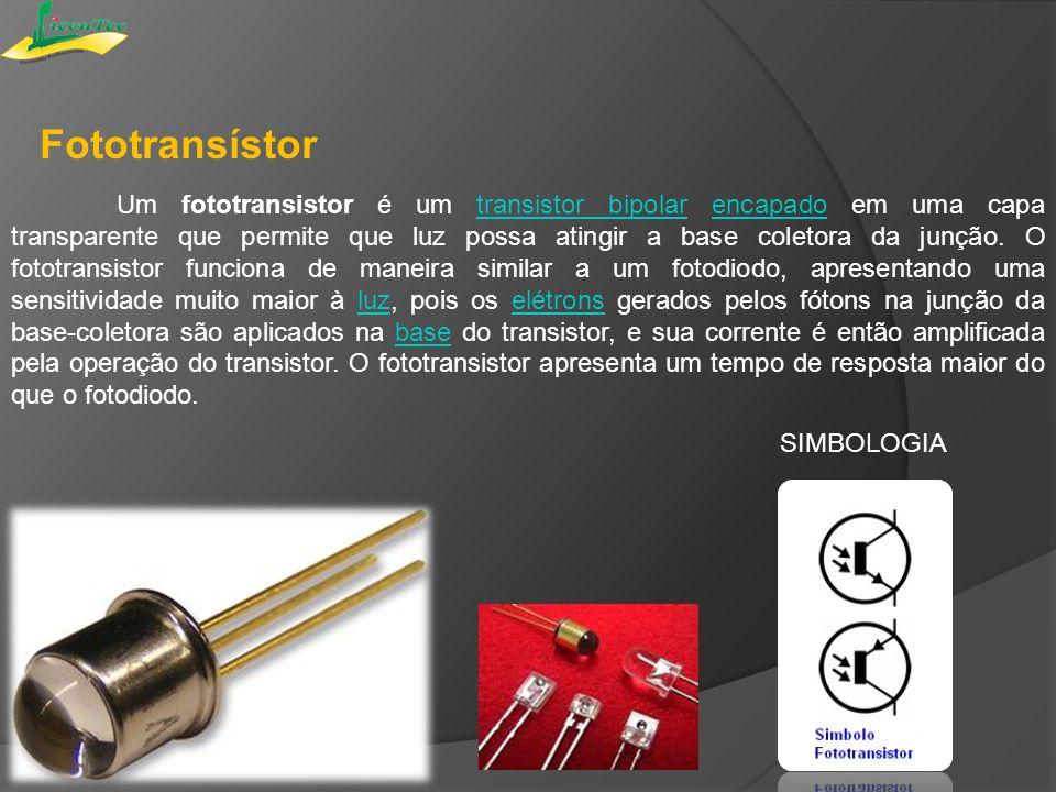 Fototransístor Um fototransistor é um transistor bipolar encapado em uma capa transparente que permite que luz possa atingir a base coletora da junção