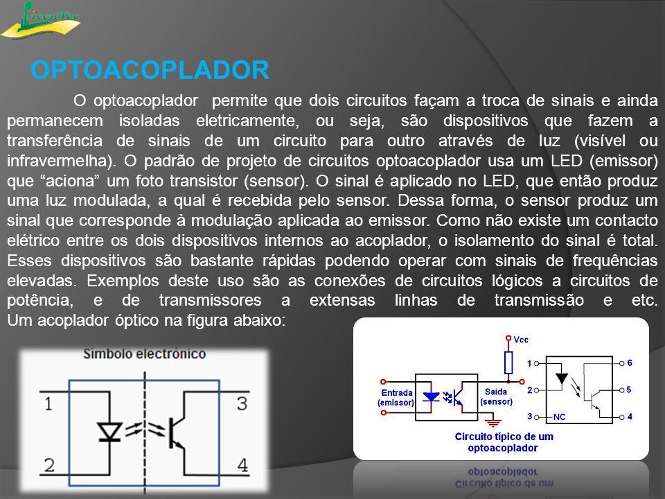 O optoacoplador permite que dois circuitos façam a troca de sinais e ainda permanecem isoladas eletricamente, ou seja, são dispositivos que fazem a tr