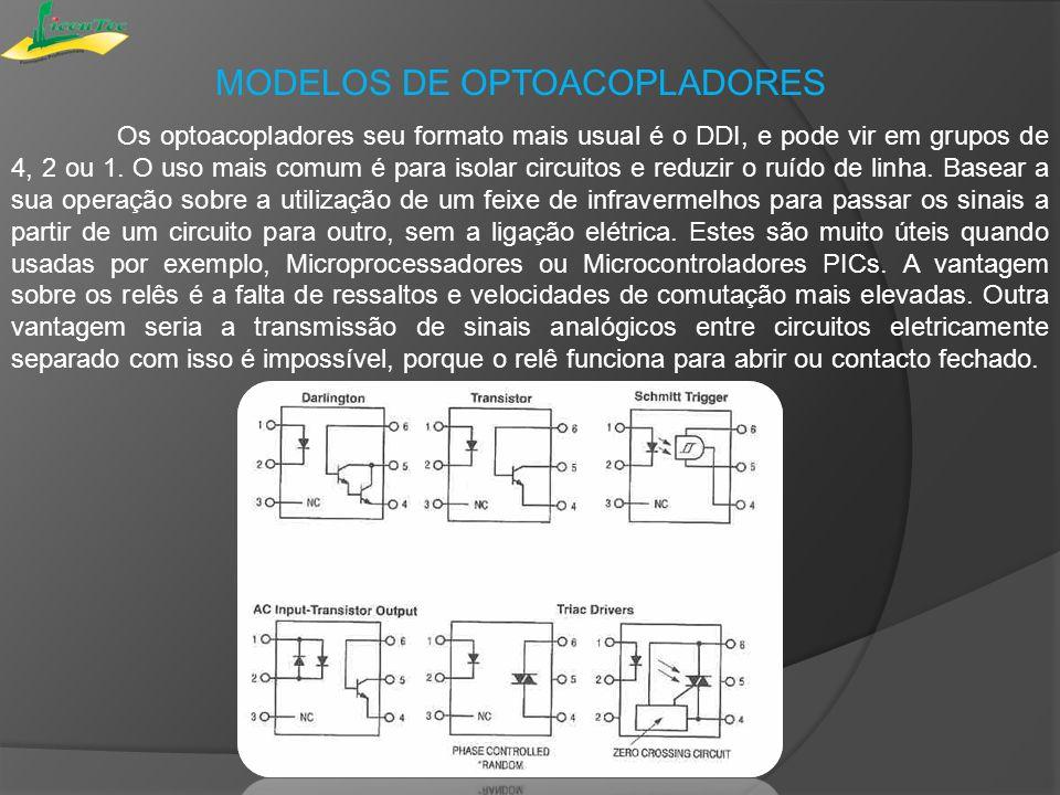 MODELOS DE OPTOACOPLADORES Os optoacopladores seu formato mais usual é o DDI, e pode vir em grupos de 4, 2 ou 1. O uso mais comum é para isolar circui