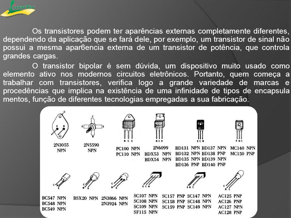 Os transistores podem ter aparências externas completamente diferentes, dependendo da aplicação que se fará dele, por exemplo, um transistor de sinal