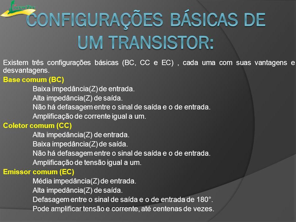 Existem três configurações básicas (BC, CC e EC), cada uma com suas vantagens e desvantagens. Base comum (BC) Baixa impedância(Z) de entrada. Alta imp