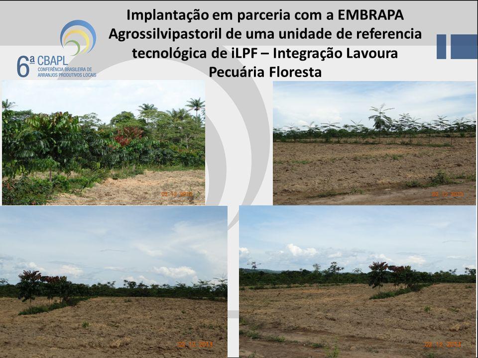 Implantação em parceria com a EMBRAPA Agrossilvipastoril de uma unidade de referencia tecnológica de iLPF – Integração Lavoura Pecuária Floresta