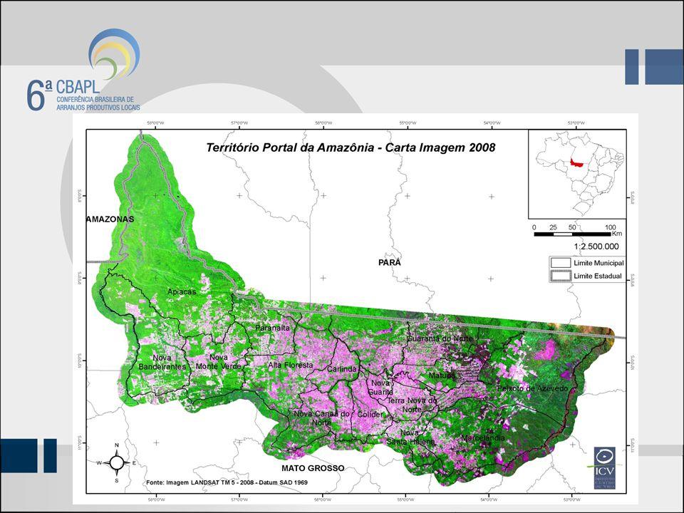 Municípios que fazem parte do Território do APL A área de abrangência é de 111.167,50 Km² e é composto por 17 municípios: Alta FlorestaApiacás CarlindaColíder Guarantã do NorteItaúba MarcelândiaMatupá Nova BandeiranteNova Canaã do Norte Nova Guarita, NovaMonte verde Novo MundoNova Santa Helena ParanaítaPeixoto de Azevedo Terra Nova do Norte