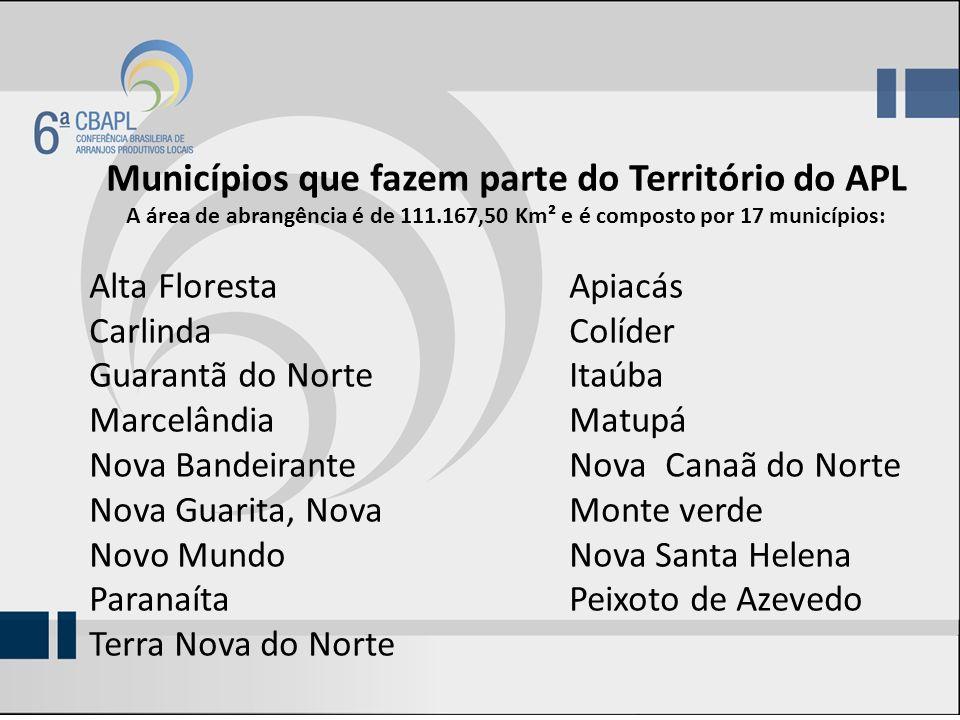 Municípios que fazem parte do Território do APL A área de abrangência é de 111.167,50 Km² e é composto por 17 municípios: Alta FlorestaApiacás Carlind