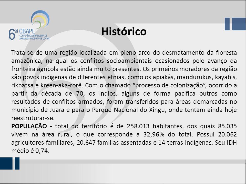 Histórico Trata-se de uma região localizada em pleno arco do desmatamento da floresta amazônica, na qual os conflitos socioambientais ocasionados pelo avanço da fronteira agrícola estão ainda muito presentes.