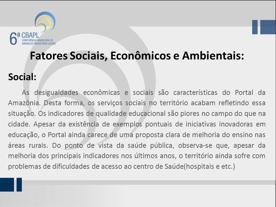 Fatores Sociais, Econômicos e Ambientais: Social: As desigualdades econômicas e sociais são características do Portal da Amazônia. Desta forma, os ser