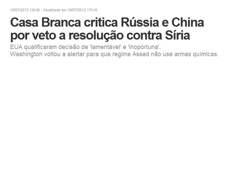 A Casa Branca criticou nesta quinta-feira (19/07/12) os vetos de Rússia e China à resolução do Conselho de Segurança daONU que ameaçava a Síria com sanções em meio à escalada do conflito político no país.RússiaONU O governo dos EUA afirmou que o veto é profundamente lamentável e altamente inoportuno e disse que ele implicava em não continuar com a missão de observadores da ONU no país.o veto Eles estão no lado oposto ao do povo sírio, o lado oposto à esperança de paz e estabilidade na região , disse o porta-voz Jay Carney.
