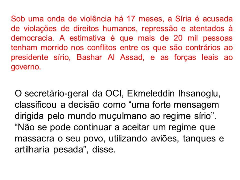 Em comunicado, os líderes da organização disseram que [houve um consenso sobre] a necessidade de encerrar os atos de violência na Síria e em suspender o país da OCI.