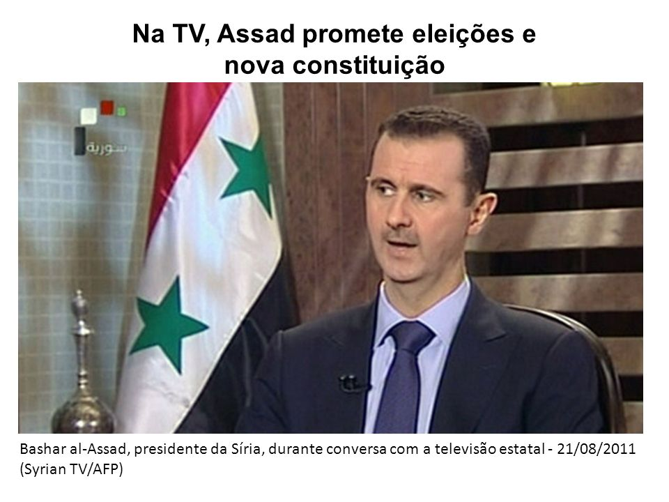Na TV, Assad promete eleições e nova constituição Bashar al-Assad, presidente da Síria, durante conversa com a televisão estatal - 21/08/2011 (Syrian TV/AFP)