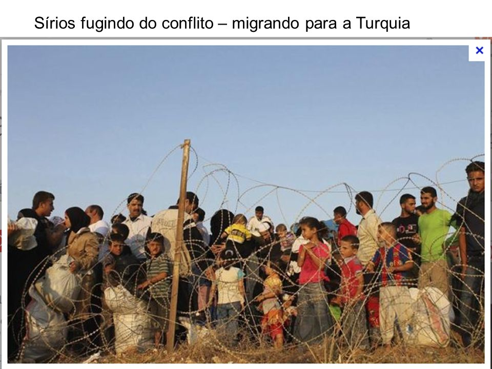 Sírios fugindo do conflito – migrando para a Turquia