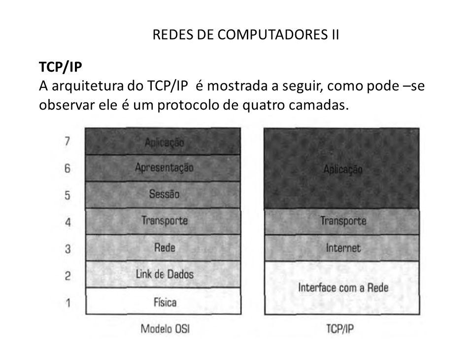 REDES DE COMPUTADORES II TCP/IP A arquitetura do TCP/IP é mostrada a seguir, como pode –se observar ele é um protocolo de quatro camadas.