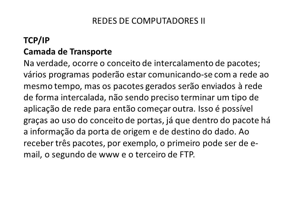 REDES DE COMPUTADORES II TCP/IP Camada de Transporte Na verdade, ocorre o conceito de intercalamento de pacotes; vários programas poderão estar comuni