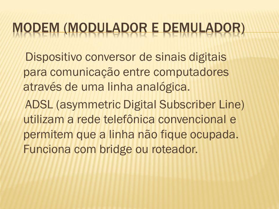 Dispositivo conversor de sinais digitais para comunicação entre computadores através de uma linha analógica. ADSL (asymmetric Digital Subscriber Line)