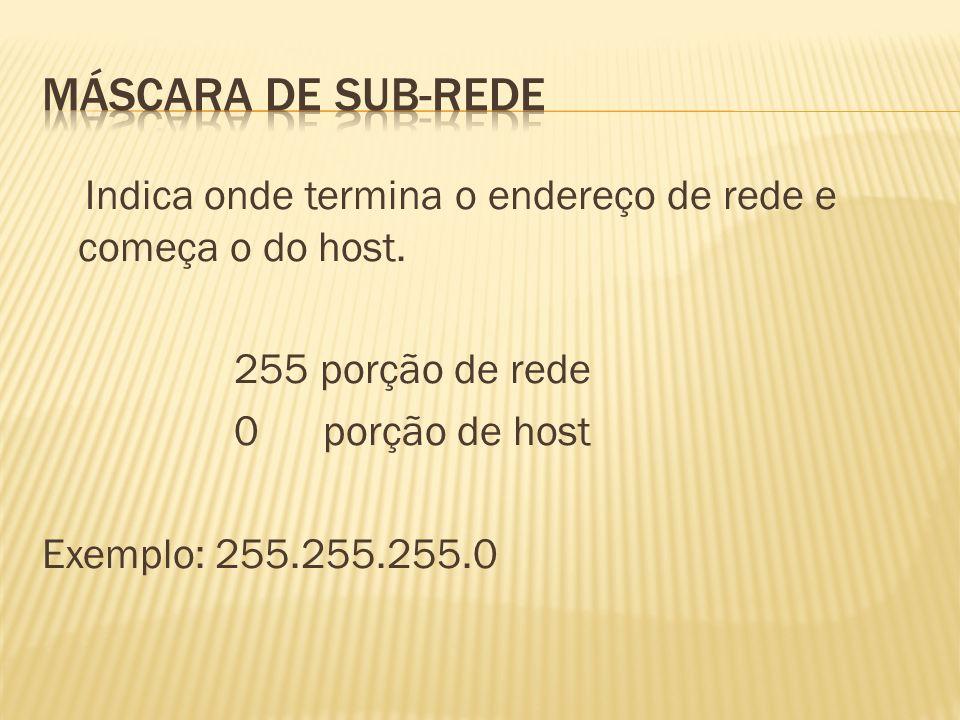Indica onde termina o endereço de rede e começa o do host. 255 porção de rede 0 porção de host Exemplo: 255.255.255.0
