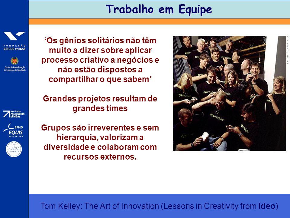 Trabalho em Equipe Tom Kelley: The Art of Innovation (Lessons in Creativity from Ideo) Os gênios solitários não têm muito a dizer sobre aplicar proces