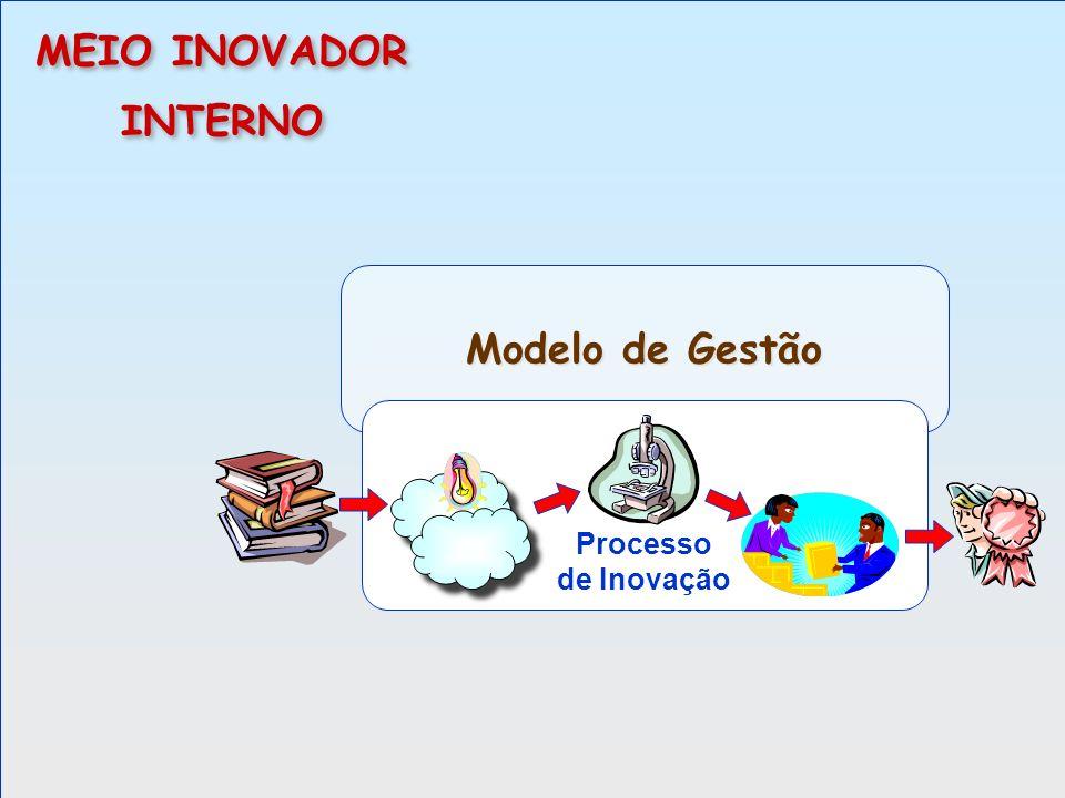 Modelo de Gestão Processo de Inovação MEIO INOVADOR INTERNO MEIO INOVADOR INTERNO