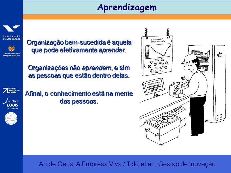 Aprendizagem Ari de Geus: A Empresa Viva / Tidd et al.: Gestão de inovação Organização bem-sucedida é aquela que pode efetivamente aprender. Organizaç