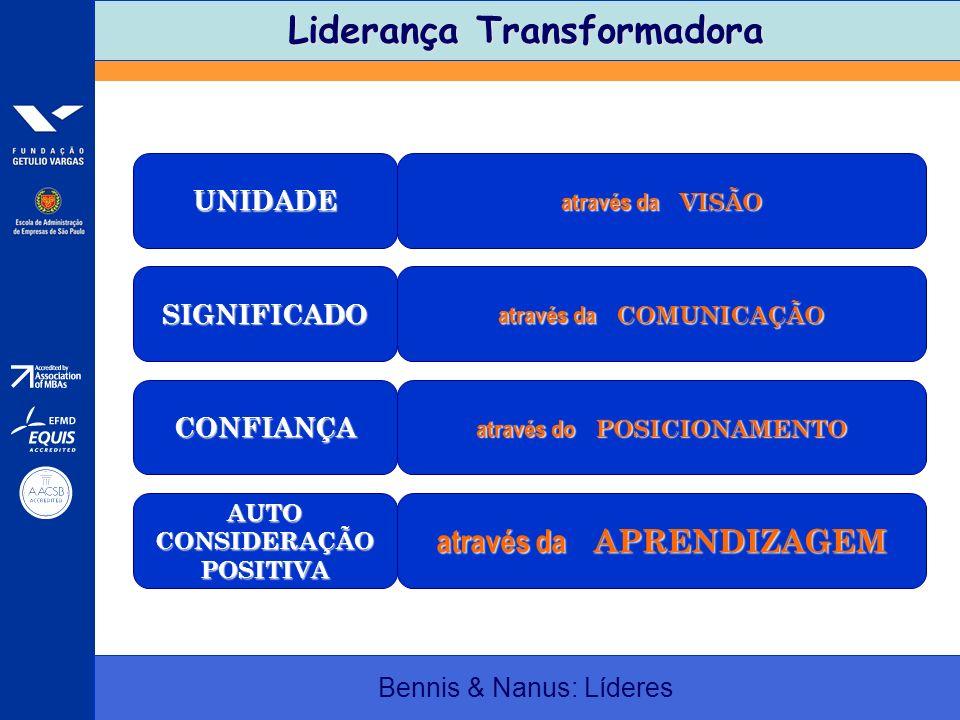 Liderança Transformadora Bennis & Nanus: Líderes UNIDADE através da VISÃO SIGNIFICADO através da COMUNICAÇÃO CONFIANÇA através do POSICIONAMENTO AUTOC