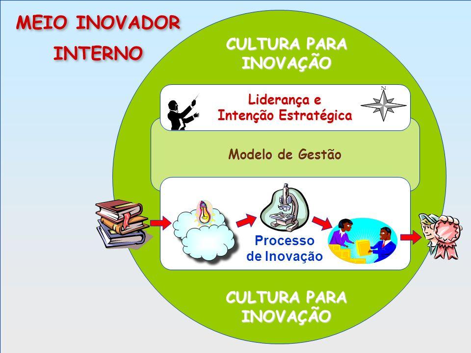 Modelo de Gestão Processo de Inovação Liderança e Intenção Estratégica CULTURA PARA INOVAÇÃO MEIO INOVADOR INTERNO MEIO INOVADOR INTERNO