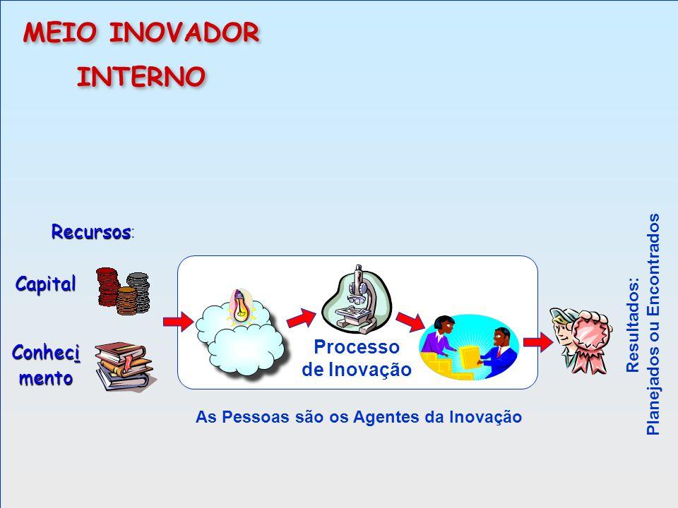 Processo de Inovação MEIO INOVADOR INTERNO MEIO INOVADOR INTERNO As Pessoas são os Agentes da Inovação Recursos Recursos : Resultados: Planejados ou E