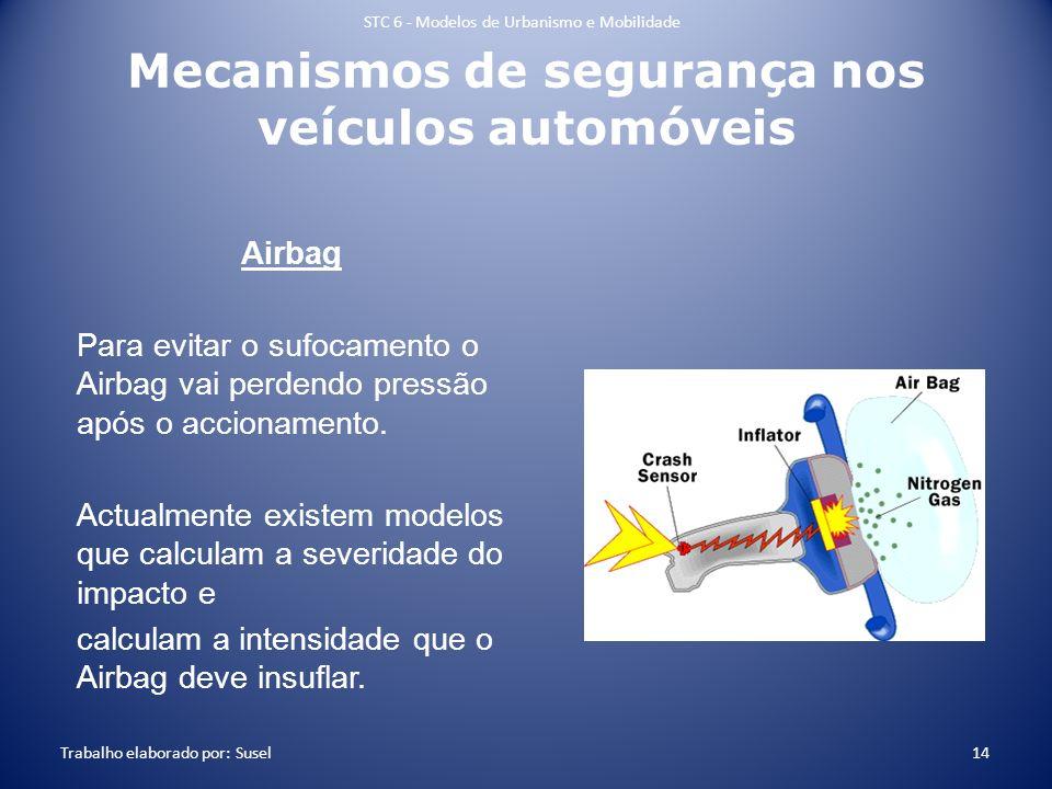Mecanismos de segurança nos veículos automóveis Airbag Para evitar o sufocamento o Airbag vai perdendo pressão após o accionamento. Actualmente existe