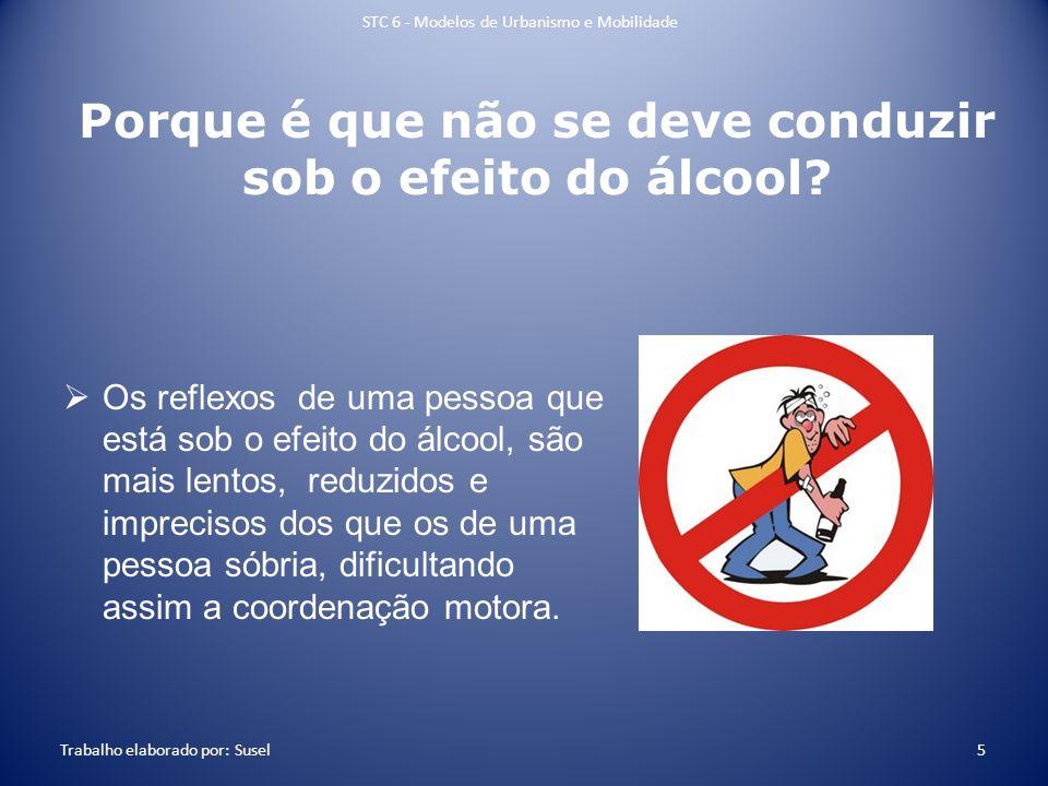 Porque é que não se deve conduzir sob o efeito do álcool? Os reflexos de uma pessoa que está sob o efeito do álcool, são mais lentos, reduzidos e impr