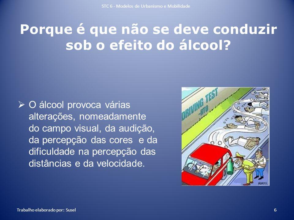Porque é que não se deve conduzir sob o efeito do álcool? O álcool provoca várias alterações, nomeadamente do campo visual, da audição, da percepção d