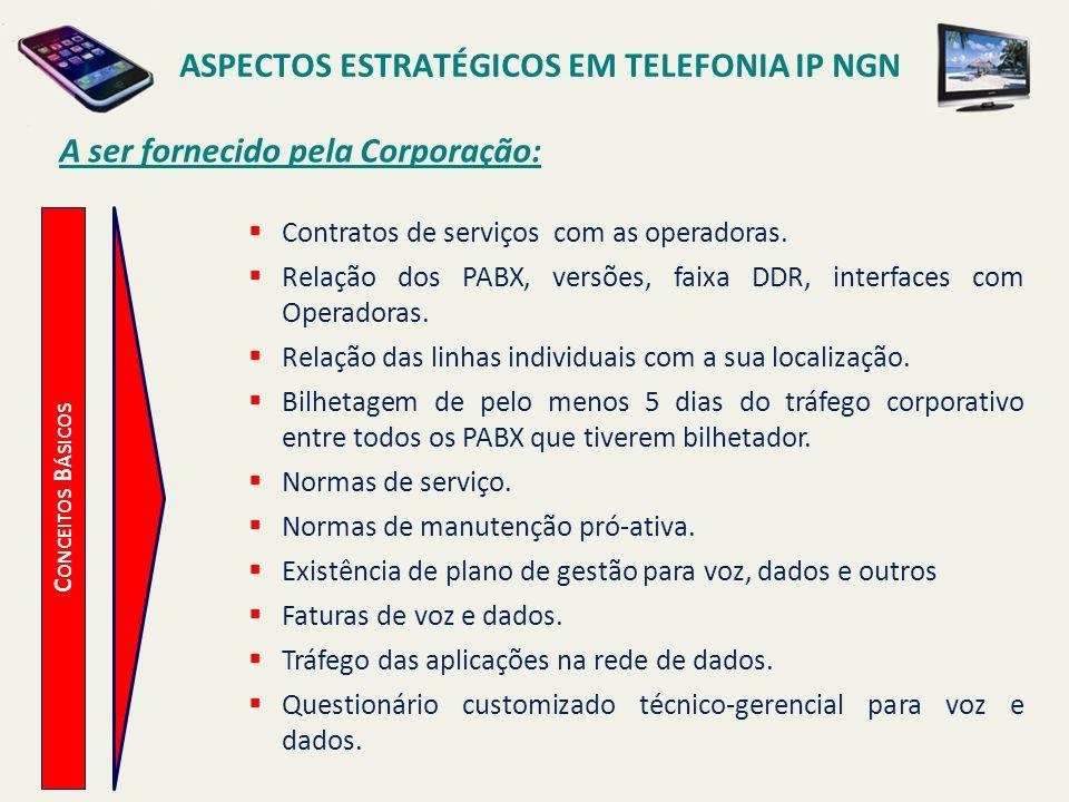 ASPECTOS ESTRATÉGICOS EM TELEFONIA IP NGN C ONCEITOS B ÁSICOS A ser fornecido pela Corporação: Contratos de serviços com as operadoras. Relação dos PA