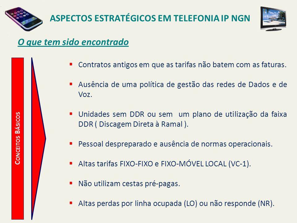 ASPECTOS ESTRATÉGICOS EM TELEFONIA IP NGN C ONCEITOS B ÁSICOS O que tem sido encontrado Contratos antigos em que as tarifas não batem com as faturas.
