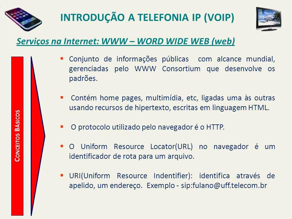 INTRODUÇÃO A TELEFONIA IP (VOIP) C ONCEITOS B ÁSICOS Serviços na Internet: WWW – WORD WIDE WEB (web) Conjunto de informações públicas com alcance mund