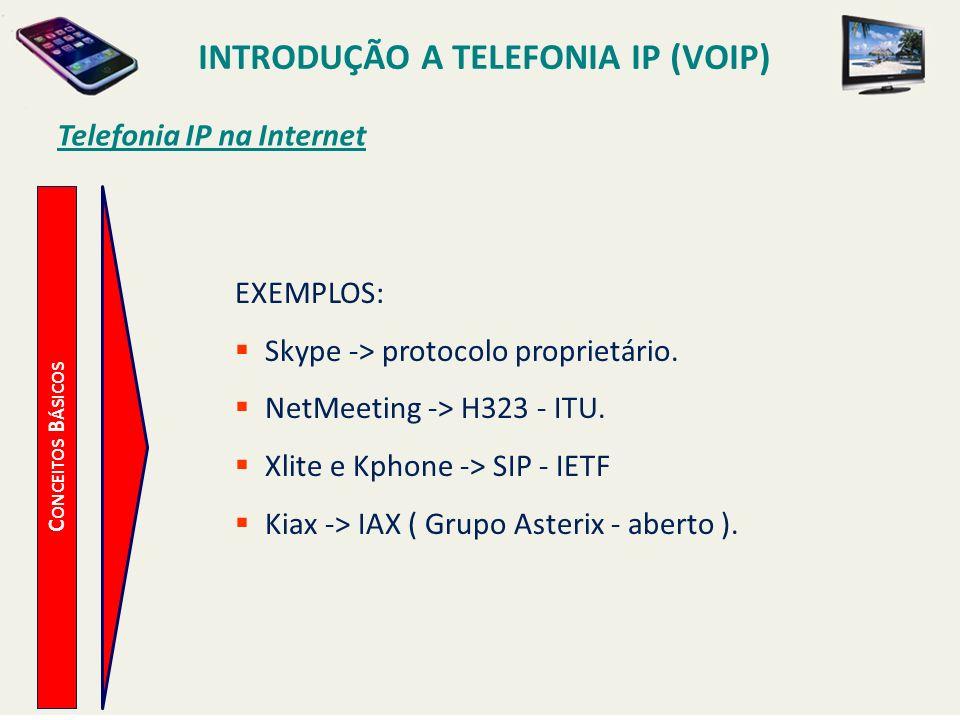 INTRODUÇÃO A TELEFONIA IP (VOIP) C ONCEITOS B ÁSICOS Telefonia IP na Internet EXEMPLOS: Skype -> protocolo proprietário. NetMeeting -> H323 - ITU. Xli