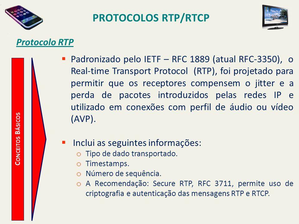 PROTOCOLOS RTP/RTCP C ONCEITOS B ÁSICOS Protocolo RTP Padronizado pelo IETF – RFC 1889 (atual RFC-3350), o Real-time Transport Protocol (RTP), foi pro