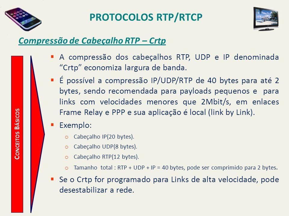 PROTOCOLOS RTP/RTCP C ONCEITOS B ÁSICOS Compressão de Cabeçalho RTP – Crtp A compressão dos cabeçalhos RTP, UDP e IP denominada Crtp economiza largura