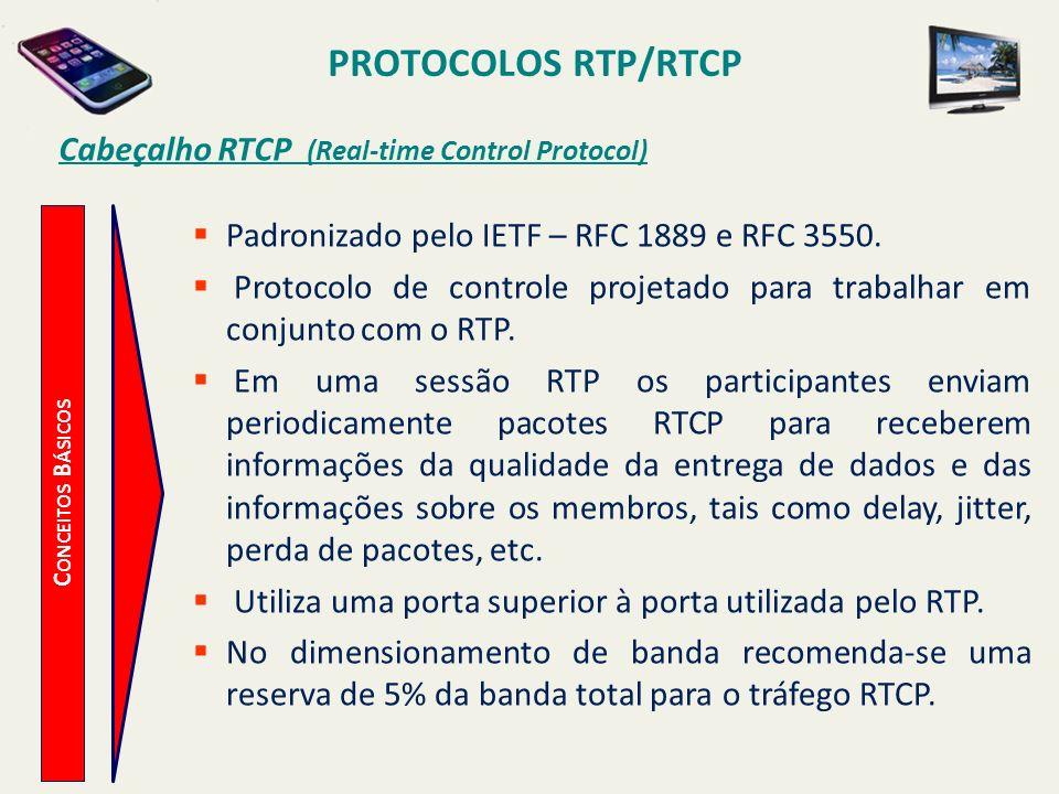 PROTOCOLOS RTP/RTCP C ONCEITOS B ÁSICOS Cabeçalho RTCP (Real-time Control Protocol) Padronizado pelo IETF – RFC 1889 e RFC 3550. Protocolo de controle