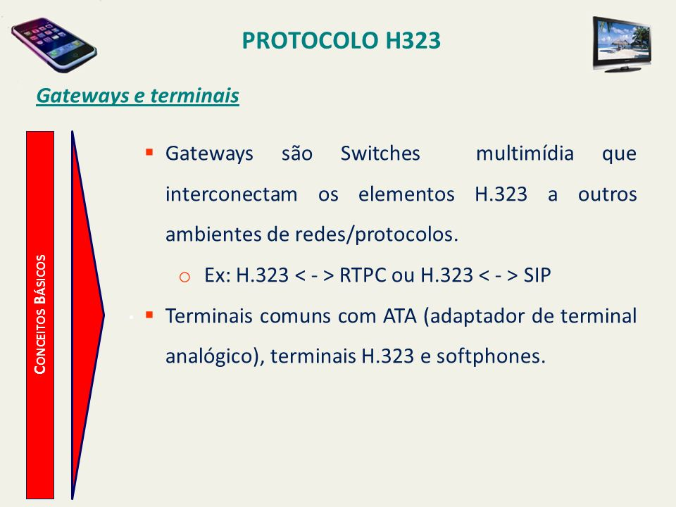 PROTOCOLO H323 C ONCEITOS B ÁSICOS Gateways e terminais Gateways são Switches multimídia que interconectam os elementos H.323 a outros ambientes de re