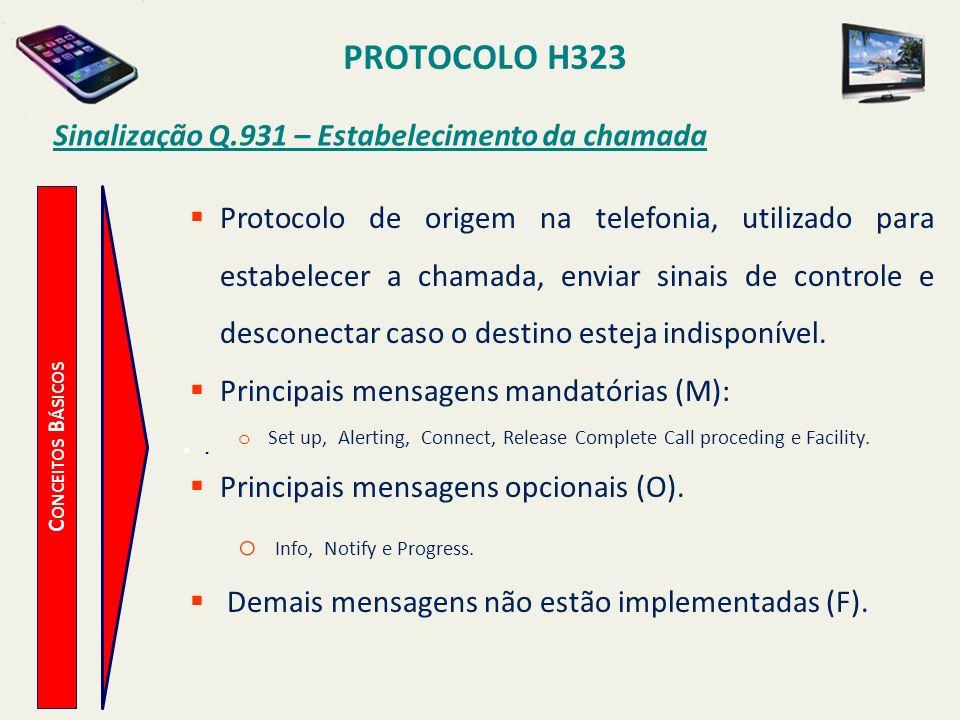 PROTOCOLO H323 C ONCEITOS B ÁSICOS Sinalização Q.931 – Estabelecimento da chamada Protocolo de origem na telefonia, utilizado para estabelecer a chama