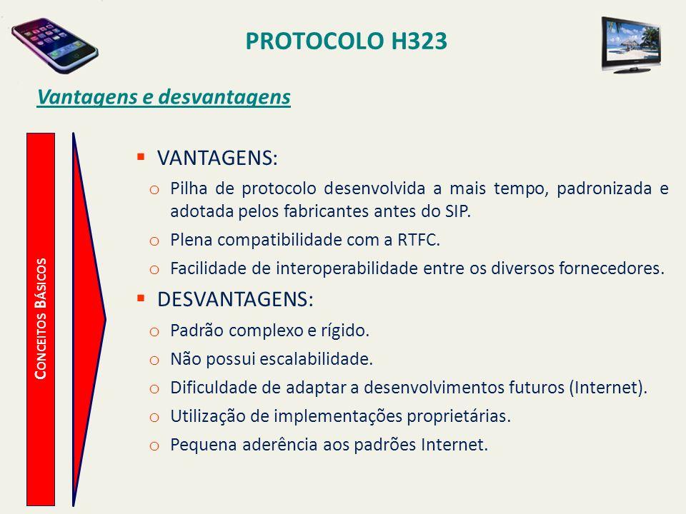 PROTOCOLO H323 C ONCEITOS B ÁSICOS Vantagens e desvantagens VANTAGENS: o Pilha de protocolo desenvolvida a mais tempo, padronizada e adotada pelos fab