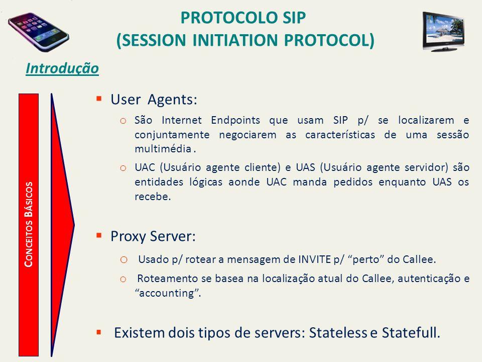 PROTOCOLO SIP (SESSION INITIATION PROTOCOL) C ONCEITOS B ÁSICOS Introdução User Agents: o São Internet Endpoints que usam SIP p/ se localizarem e conj