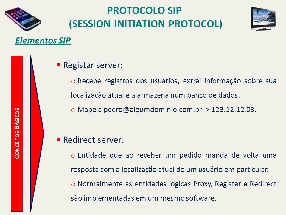 PROTOCOLO SIP (SESSION INITIATION PROTOCOL) C ONCEITOS B ÁSICOS Elementos SIP Registar server: o Recebe registros dos usuários, extrai informação sobr