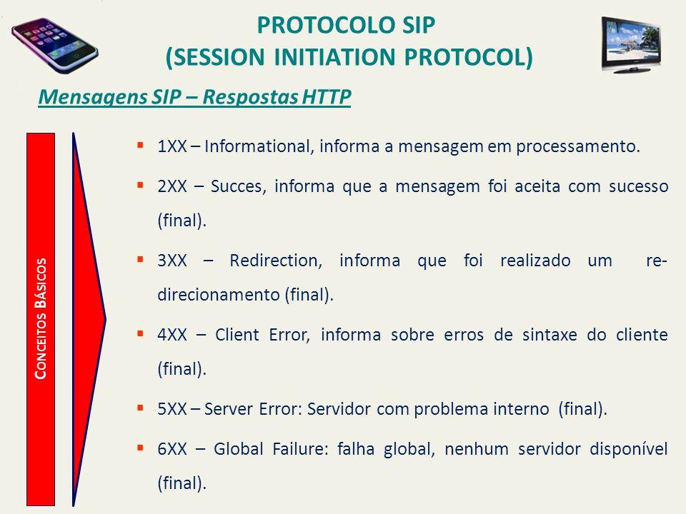 PROTOCOLO SIP (SESSION INITIATION PROTOCOL) C ONCEITOS B ÁSICOS Mensagens SIP – Respostas HTTP 1XX – Informational, informa a mensagem em processament