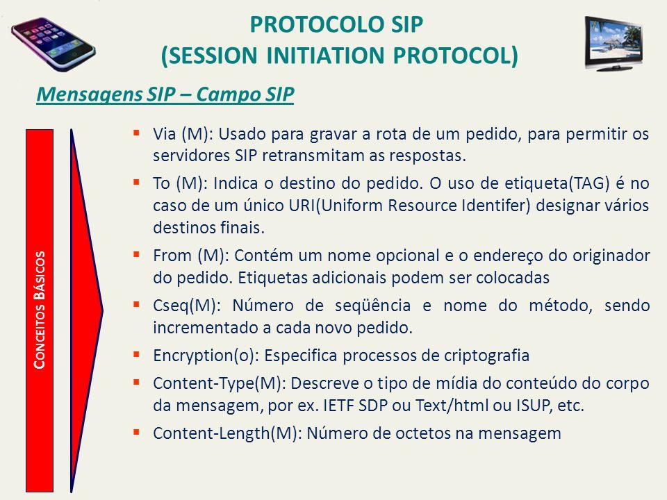 PROTOCOLO SIP (SESSION INITIATION PROTOCOL) C ONCEITOS B ÁSICOS Mensagens SIP – Campo SIP Via (M): Usado para gravar a rota de um pedido, para permiti