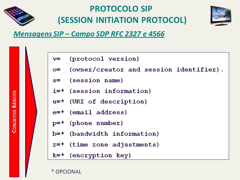 PROTOCOLO SIP (SESSION INITIATION PROTOCOL) C ONCEITOS B ÁSICOS Mensagens SIP – Campo SDP RFC 2327 e 4566 * OPCIONAL