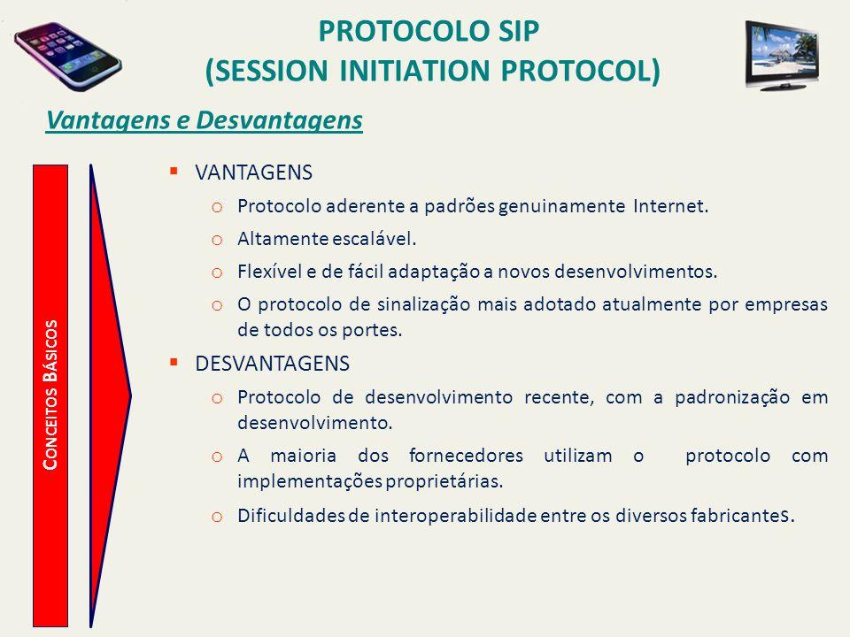 PROTOCOLO SIP (SESSION INITIATION PROTOCOL) C ONCEITOS B ÁSICOS Vantagens e Desvantagens VANTAGENS o Protocolo aderente a padrões genuinamente Interne