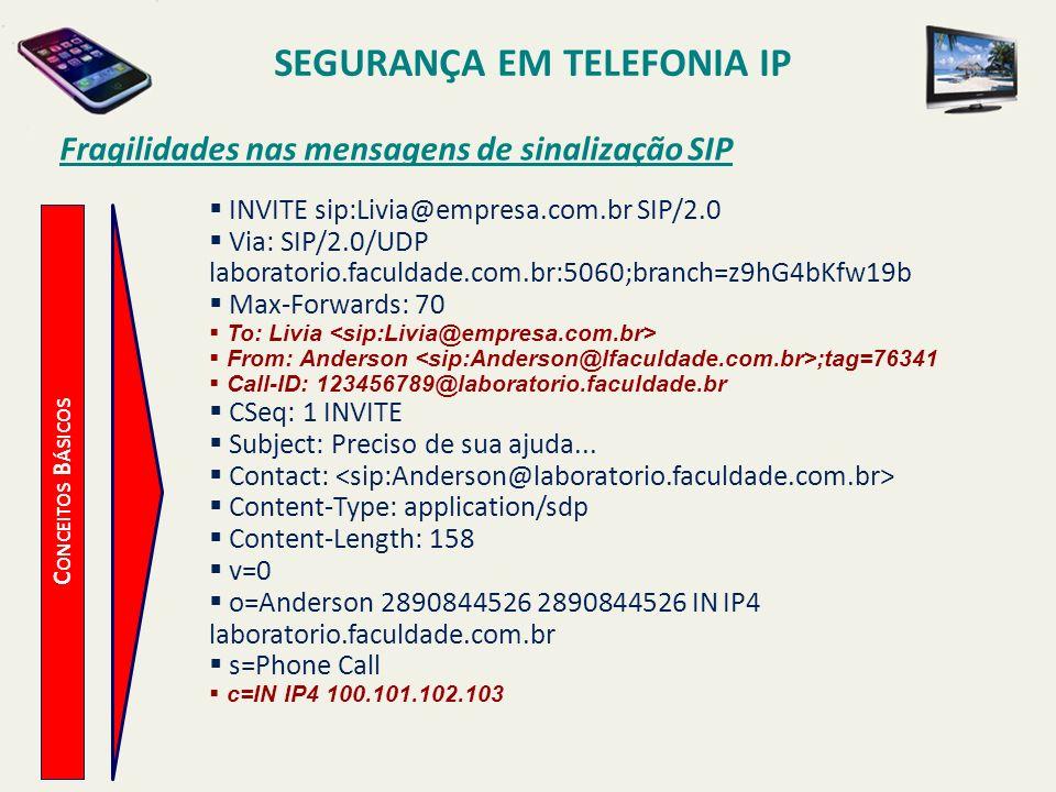 SEGURANÇA EM TELEFONIA IP C ONCEITOS B ÁSICOS Fragilidades nas mensagens de sinalização SIP INVITE sip:Livia@empresa.com.br SIP/2.0 Via: SIP/2.0/UDP l