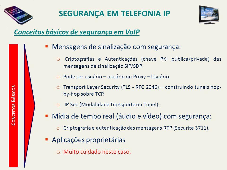 SEGURANÇA EM TELEFONIA IP C ONCEITOS B ÁSICOS Conceitos básicos de segurança em VoIP Mensagens de sinalização com segurança: o Criptografias e Autenti