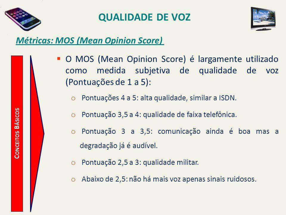 QUALIDADE DE VOZ C ONCEITOS B ÁSICOS Métricas: MOS (Mean Opinion Score) O MOS (Mean Opinion Score) é largamente utilizado como medida subjetiva de qua
