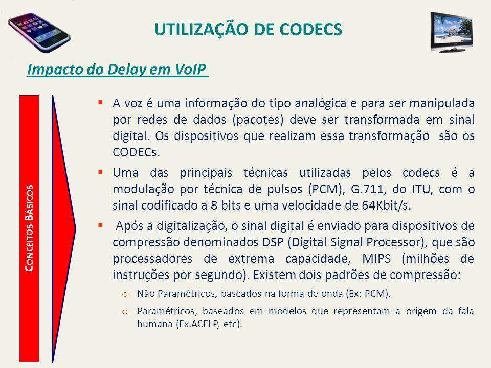 UTILIZAÇÃO DE CODECS C ONCEITOS B ÁSICOS Impacto do Delay em VoIP A voz é uma informação do tipo analógica e para ser manipulada por redes de dados (p
