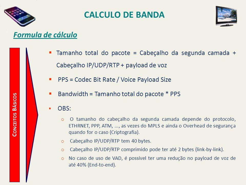 CALCULO DE BANDA C ONCEITOS B ÁSICOS Formula de cálculo Tamanho total do pacote = Cabeçalho da segunda camada + Cabeçalho IP/UDP/RTP + payload de voz